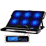 DZSF Laptop Cooler 2 USB-Anschlüsse und sechs Lüfter Laptop Cooling Pad Notebook-Ständer für 12-15,6 Zoll für Laptop Cooler Fan Zubehör