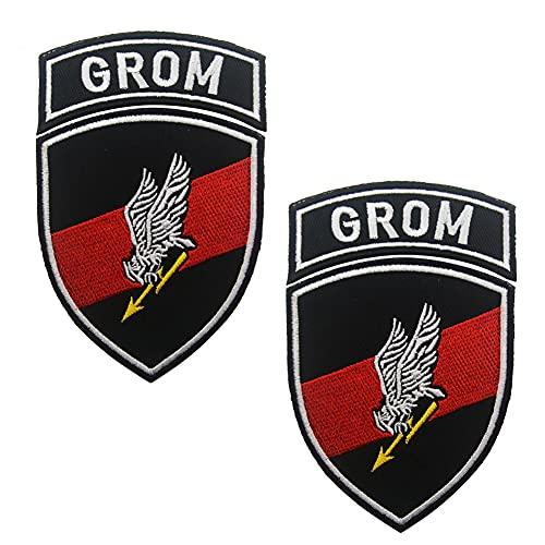 Parche táctico bordado de la bandera polaca de GROM Polonia Moral Emblema Insignias Grupo Especial de la Fuerza Táctica Moral Militar Apliques Coser Accesorios