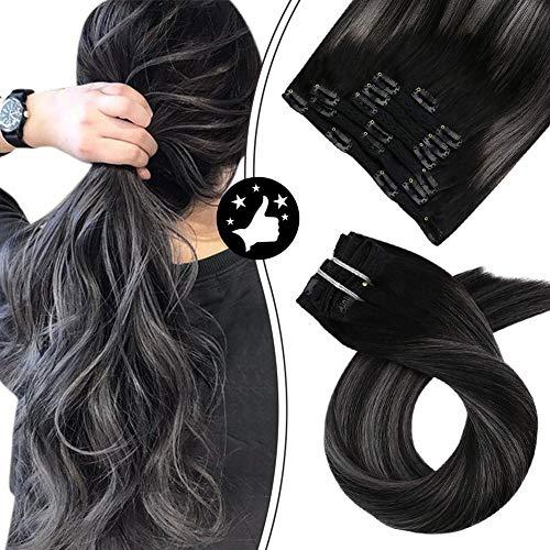Moresoo Clip in Extensions Echthaar Schwarz Grau 16Zoll/40cm 100% Remy Haarverlängerung Echthaar Clip Extensions 7Stück/100Gramm