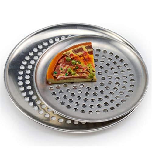 Bacs à Pizza en Acier Inoxydable avec Trous Rondelle Anti-adhésive pour Plateau de Cuisson pour Pizza Plaque de Boulangerie Outils de Pizza Four Filet extérieur en métal maillé, 10nch (25cm)