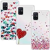 Young & Min Funda para Samsung Galaxy A51 4G[No para 5G], (3 Pack) Transparente TPU Silicona Carcasa Delgado Antigolpes Resistente, Amor