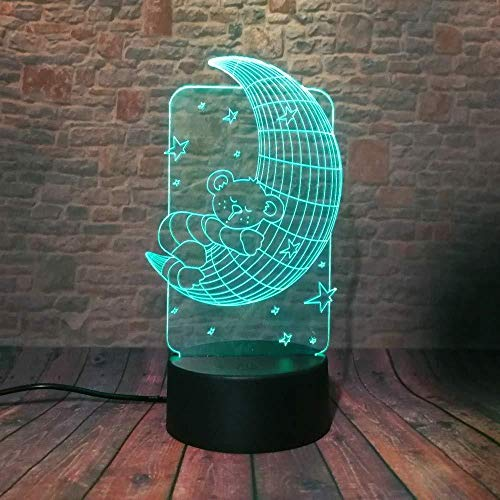 3D illusie Light 3D-lamp Night Light 3D Lovely Bear On Moon Star kinderen 7 Dim Colorsming Night Gradient Illusion Light LED Baby Kerstmis Vrouwen Jaar verjaardagscadeau S met afstandsbediening 3D