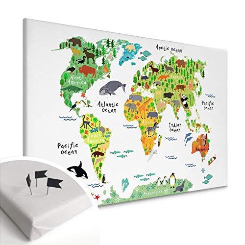 Foto op canvas met kurk achterwand - dierlijke wereldkaart prikbord memoboard continenten landen kaart kinderkamer dieren kleurrijk met ophangmateriaal Wall-Art 80x50 cm multicolor