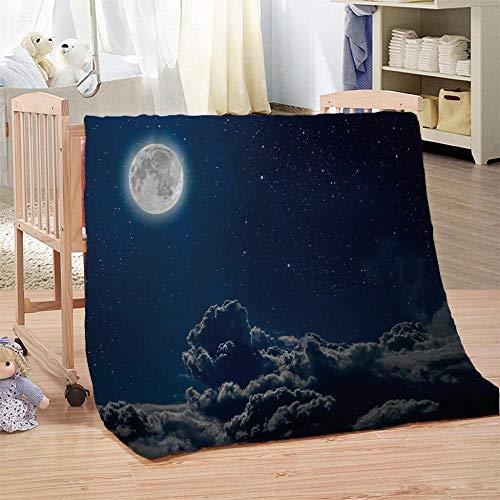 DHYYQX Manta de Franela de Microfibra 3D Noche de Luna Impresión Digital, Mantas para Niños y Adultos 135x150cm para Sofá, Cama, Dormitorio