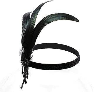 Black Feather 1920s Flapper Headpiece Beaded Charleston Headband Roaring 20s Vintage Great Gatsby Hair Accessories