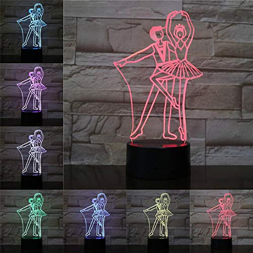 Sanzangtang Led-nachtlampje, 3D-visionzeven, kleuren-afstandsbediening, creatieve balletdansers, licht, ballerina, kind, licht, druppels, slaap, kleur zwart, wit, basic, touch-nachtlampje voor kinderen