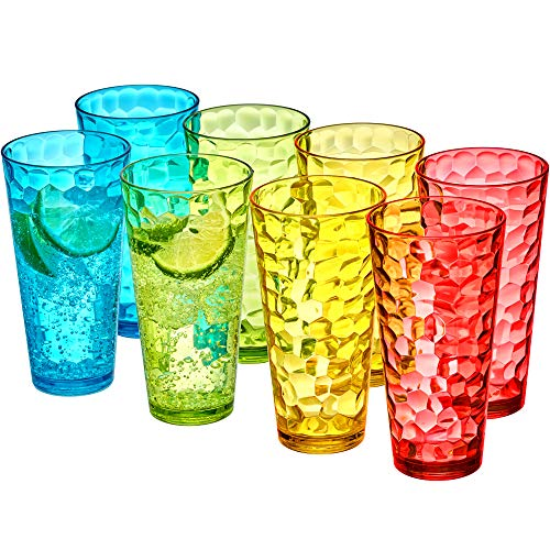 Amazing Abby - Iceberg - 24-Ounce Plastic Tumblers (Set of 8), Plastic Drinking Glasses, Mixed-Color High-Balls, BPA-Free, Shatter-Proof, Dishwasher-Safe