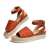 Sandalias Mujer Alpargatas Plataformas Romano Cuña Hebilla Gladiador Zapatos Verano Playa Punta Abierta Tacon 5.6cm Correa de Tobillo 1-Marrón-Claro EU39