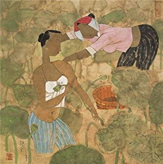 Oil Painting 'Hu Yongkai,The Lotus Pond,21th Century' Printing On Polyster Canvas , 10x10 Inch / 25x25 Cm ,the Best Nursery Gallery Art And Home Decor And Gifts Is This Replica Art DecorativeCanvas Prints