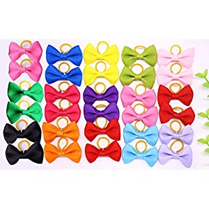 yagopet 20pcs New Dog Hair Bows Topknot Solid Small Bowknot with Rubber Bands Pet Grooming Products Mix Pure Colors Pet Hair Bows Dog Hair Accessories