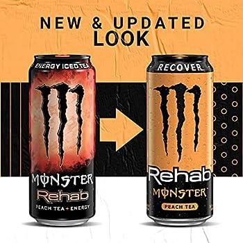 Monster Energy Rehab Peach Tea + Energy - 15.5 Oz 12 Ct.