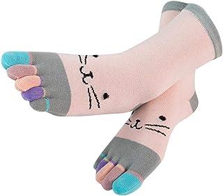 Mujer Colorido Patchwork lindo gatito imprimir Algodón Toe Calcetines Divertidos dibujos animados tubo medio de cinco dedos