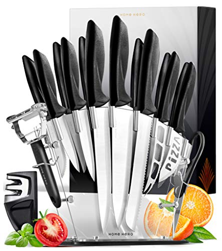 Home Hero 17 Pieces Kitchen Knives Set, 13 Stainless Steel Knives + Acrylic Stand, Scissors, Peeler and Knife Sharpener ( Stainless Steel Blades )