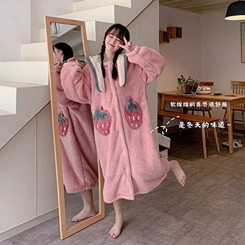 HGDS Pijamas Peludos para Mujer Otoño Invierno con Sombrero camisón Bata Lindo Conjunto de Ropa de hogar esponjosa de Fresa Pijama de una Pieza para Mujer-camisón_Talla única