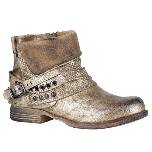 Damen Stiefeletten Biker Boots Nieten Schnallen Leder-Optik Schuhe 148773 Gold Glitzer 38 Flandell