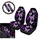 WELLFLYHOM Girly Cute Cartoon Butterfly Front Car Seat Covers for Women Full Set with Steering Wheel Cover/Console Cover/Seat Belt Shoulder Pad, Fashion Purple Stripes Interior Accessories 6-PCS
