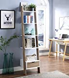 RAAMZO Two-Tone White and Oak Finish 5 Tier Bookcase Shelf Ladder Leaning with Drawer - 74' Height