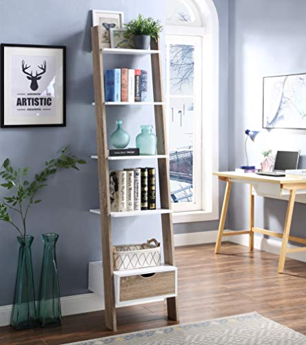 RAAMZO Two-Tone White and Oak Finish 5 Tier Bookcase Shelf Ladder Leaning with Drawer - 74