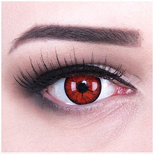 Funnylens 1 Paar farbige rote schwarze Äderchen Crazy Metatron Vampir Zombie Jahres Kontaktlinsen perfekt zu Halloween, Karneval, Fasching oder Fasnacht mit gratis Kontaktlinsenbehälter ohne Stärke!