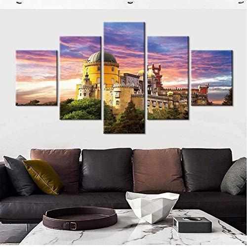 Bibilongbk cuadro modular lienzo arte de la pared decoración moderna 5 paneles castillo pintura impresión HD (100x50 cm sin marco)