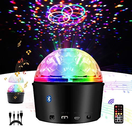 Luces Discoteca,Eleganted 9 Colores Bluetooth Lámpara Bola Disco,Sonido activado 9W LED Giratoria Luz de Fiesta con Control Remoto para Cumpleaños,Escenario,Navidad,Boda Iluminacion