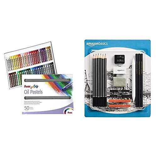 Pentel PHN Pastels à l'huile Boîte de 50 couleurs & Amazon Basics Kit de croquis et dessin 17 pièces avec crayons inclus