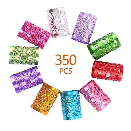 350 PCS 7 Couleurs Tressage de Cheveux Accessoire de Cheveux, Perles de Tressage de Cheveux, Poignets de Cheveux en Métal Robustes Réglables Anneaux de Tresse Tresses Décorations de Cheveux