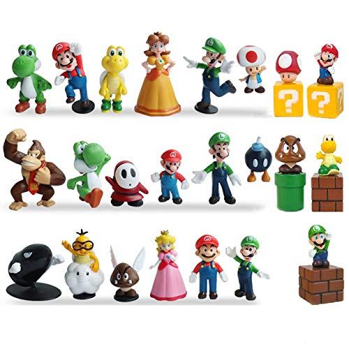 23Pcs Super Mario Action Figures - Mario、Luigi、Yoshi、Mary Princess、Turtle、Mushroom、Orangutan - Mario Toy Set Minifigures Toys 1.4'-2.7'