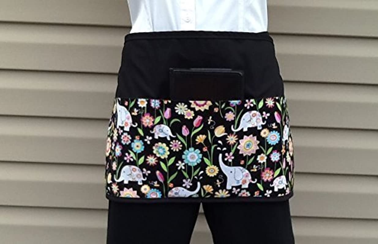 Waitress Waiter Or Server Elephant 3 Pockets Apron Black Half Apron Kitchen Cooking Craft And Handmade Janets Aprons Click Here And Scroll Down To See Almost 300 Different Aprons