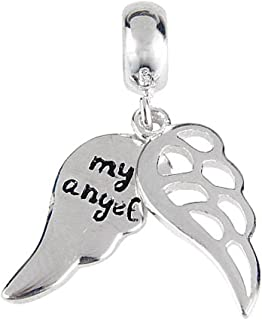 Amoony Pendant Wing Charm of Angel Charm 925 Sterling Silver Feather Charm Christian Charm for Bracelet
