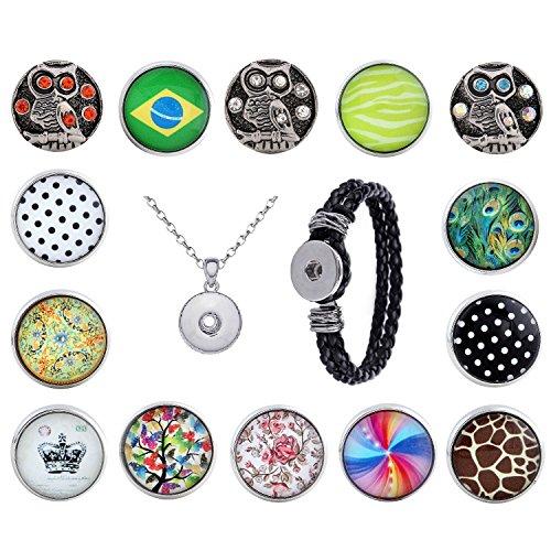 Morella Damen Click-Button Set 14 Druckknöpfe Eulen und Muster mit Halskette Edelstahl 70 cm und Armband