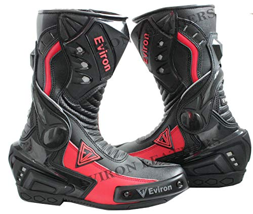 EVIRON botas de piel de estilo corto de tobillo para motocicleta