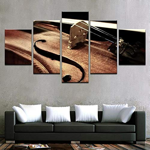CVBGF 5 parts Canvas prints art picture/Violin string color painting/Non-woven mural art print wall decoration - Ready to hang up, With Frame/Size:M/W=150Cm,H=80Cm