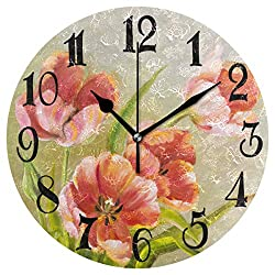 Wamika Watercolor Red Poppy Flowers Round Wall Clock Sunflower Tulips Poppies Clock Silent Non Ticking Decorative Battery Operated Quartz Analog Quiet Desk Clocks for Home Office School