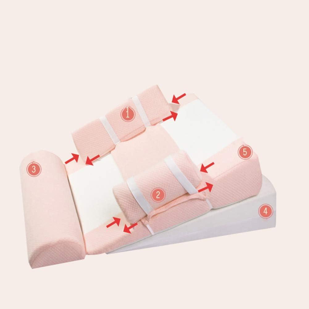 JUNBABY Oreiller en Coin pour bébé, Sommeil pour bébé, Coin pour Berceau, Lait en Poudre, Oreiller en éponge, incliné, Design Ergonomique-Pink Blue
