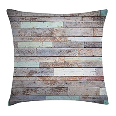 Ambesonne Rustic Home Decor Throw Pillow Cushion Cover by, Retro Old Fashion Lumber Wall Boarding Building Panel Structure, Decorative Square Accent Pillow Case, 18 X 18 Inches, Brown Light Green