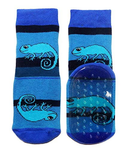 Weri Spezials Baby & Kinder Stopper Socken Baumwolle Chamäleon Muster Voll-ABS Antirutschsohle für Jungen (23-26, Kornblau)