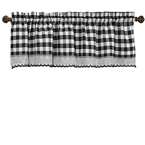 Woven Trends Designer Home Window Panel Curtain Drape Valance Scarf Gingham Checked Checkered Plaid Black - 58