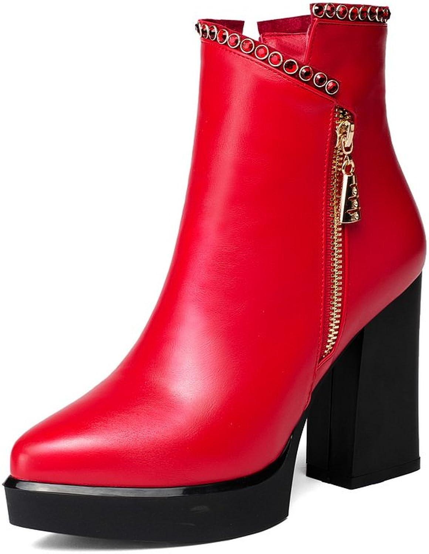 BalaMasa Girls Winkle Pinker Metal Ornament Zipper Unique Platform Microfiber Boots