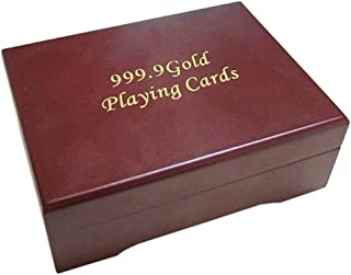Yagaga 24K Gold Foil Poker Playing Cards Wooden Box Deck Plated Card Storage Case Handcrafted Classic Playing Card Holder Deck Box Storage Case Organizer (Red)