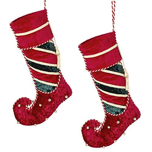 Regal en velours rouge, vert, Doré Jingle Bell Chaussette de Noël 45 x 20 cm, Velours, Red, Gold, Green, H45 x W20cm