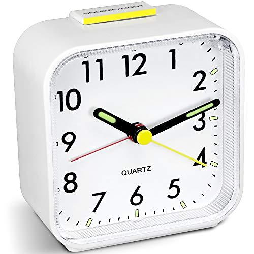 HOPSEM Silent Alarm Clock Battery Powered Non Ticking Bedside Clocks Large...