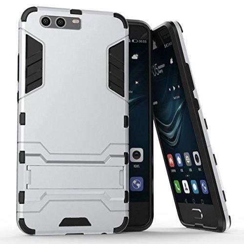 Funda Huawei P10 Plus, CHcase 2in1 Armadura Combinación A Prueba de Choques Heavy Duty Escudo Cáscara Dura PC + Suave TPU Silicona Rubber Case Cover con Soporte para Huawei P10 Plus -Silver
