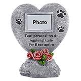 PETAFLOP Lapide Cane con Piccola Cornice Funerario Cane,Testo Personalizzato,Pietra con Memmorativa per Animale per Giardino o Casa