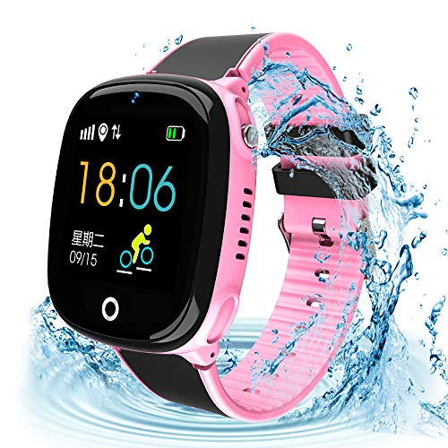 Kids Smartwatch with GPS Tracker, Kids Smart Watch Phone Waterproof Sports Pedometer 1.44'' HD Touch Screen Anti-Lost SOS Call Phone with Alarm Clock Camera Game Boys Girls Christmas Birthday Gift