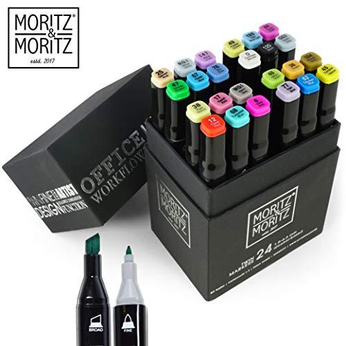 Moritz & Moritz Marker Set 24 Stück - Twinmarker Faserstifte - Graffiti Stifte in Weichen Farben zum Skizzieren Layouten Illustrieren Zeichnen Malen