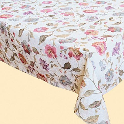 Kamaca Serie Beautiful Flowers in Creme mit zarten Pastelltönen Markenqualität hoher Baumwolle Anteil (Tischdecke eckig 130x170 cm)