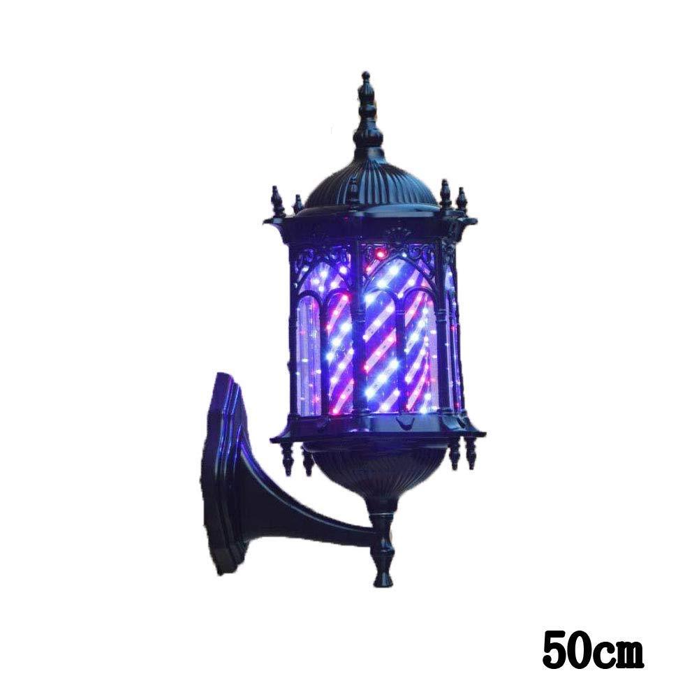 WUAZ Retro LED Barber Pole, Rojo Blanco Azul Giratorio Rayas iluminadas Lámpara montada en la Pared Estilo de Roma Peluquería Peluquería Letrero,1: Amazon.es: Hogar