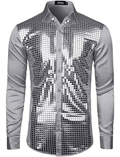 JOGAL Herren Pailletten Hemd 70er Langarm Disco Party Kostüm Medium Grau