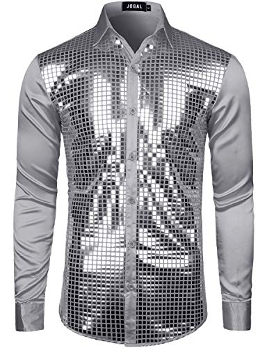 JOGAL Herren Pailletten Hemd 70er Langarm Disco Party Kostüm XX-Large Grau